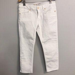 MICHAEL KORS White Skinny Crop Jean Gold Hardware